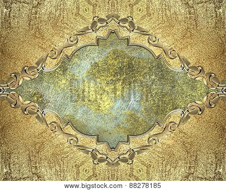 Element For Design. Template For Design. Antique Frame With Gold Pattern On A Blue Background