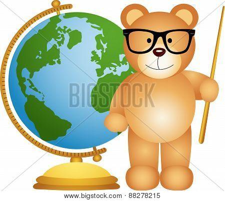 Teddy bear teacher with globe