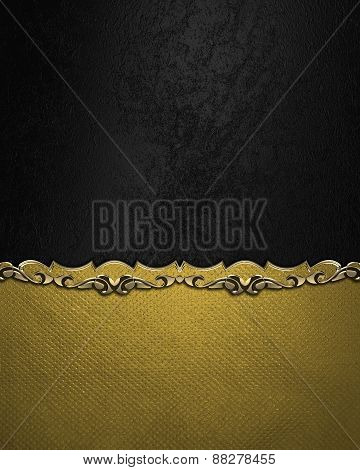 Element For Design. Template For Design. Black Velvet Background With Yellow Bottom With Gold Patter