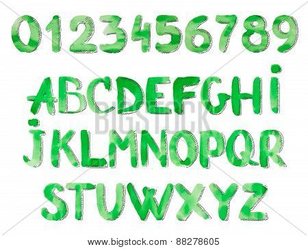 Watercolor Alphabet. Painted Font. Letters and numbers