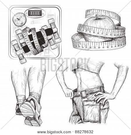 set of Fitness bodybuilding and diet sport exercise sketch