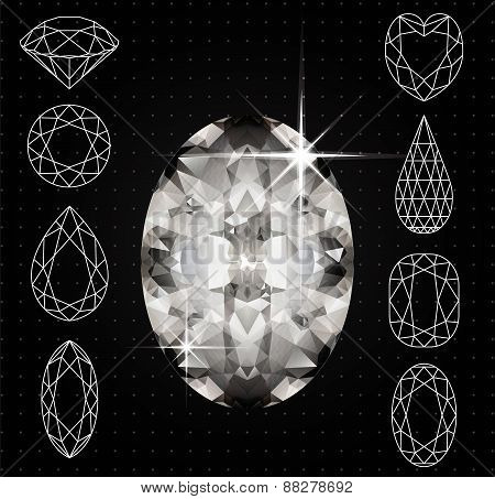 Set of variously shaped diamonds and realistic gemstone