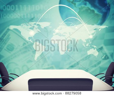 Business office on abstract background with money