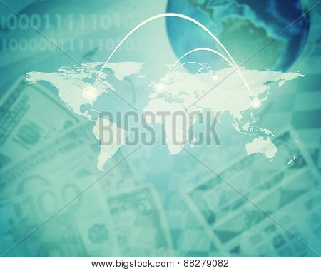 Abstract background with dollars and earth model