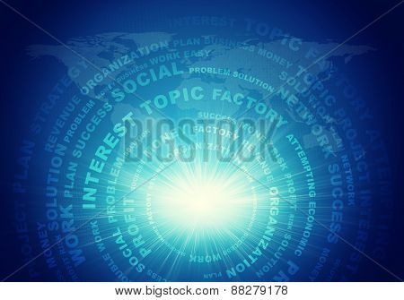 Adstact background with business words arranged in circles