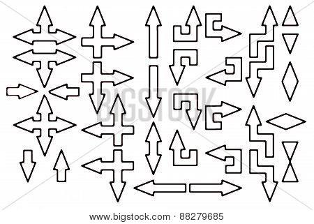 White arrows with black contour