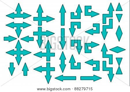 Cyan arrows with black contour