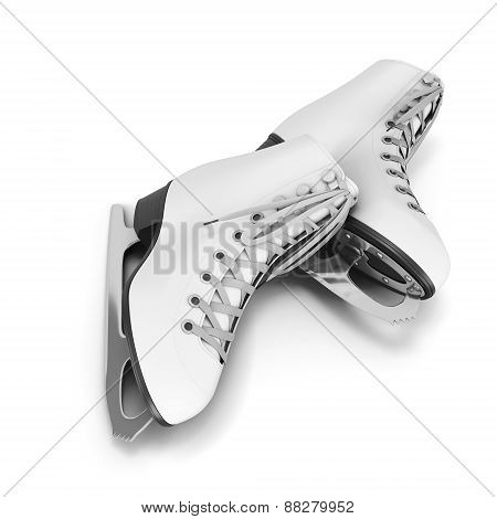 Pair Of Skates On A White
