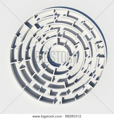 Top view of 3d model round maze
