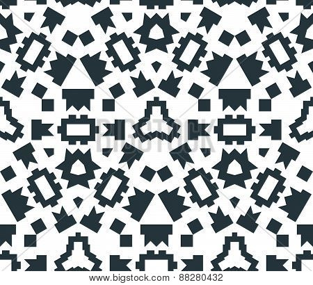 Dark Monochrome Color Angular Abstract Geometric Seamless Pattern.