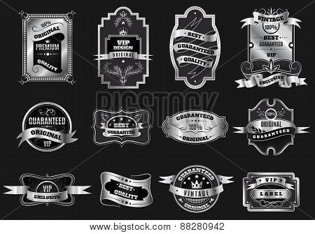 Retro original silver emblems labels collection