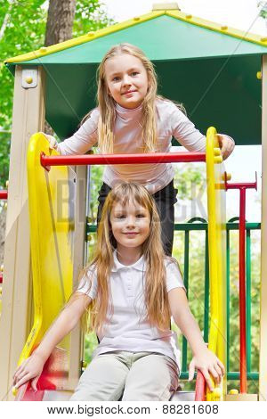 Two Active Girls On Nursery Platform