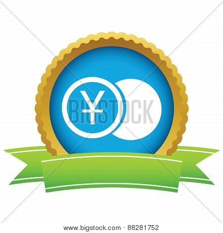 Gold yen coin logo