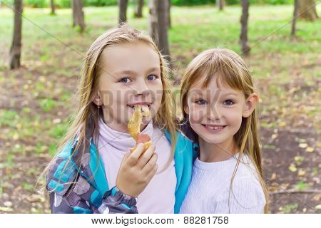 Cute Two Eating Girls