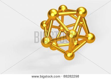 3D Collection Of Gold Objects. Atomic Molecule On White Background. High Resolution