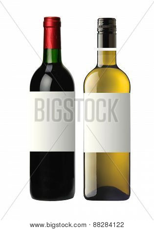 Bottles Of Red And White Wine Isolated On White
