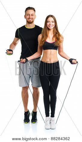 Happy Athletic Couple - Man And Woman With With Ropes On The White