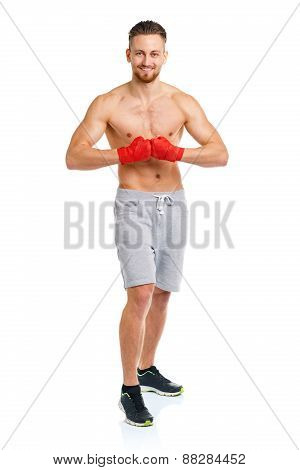 Athletic Attractive Man Wearing Boxing Bandages On The White