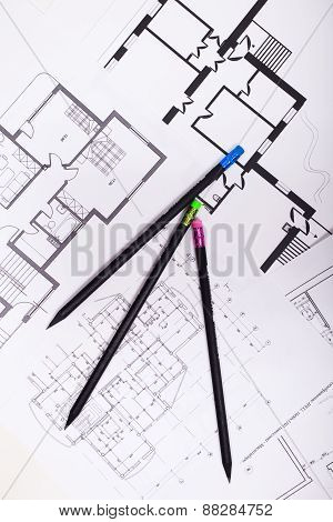 Plans For Residential Flats With Pencil