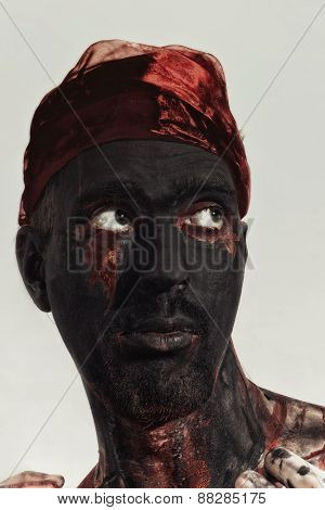 Man With Black Theatrical Make-up