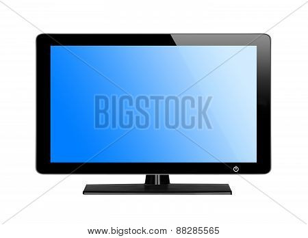Modern Tv Screen With Blue Screen