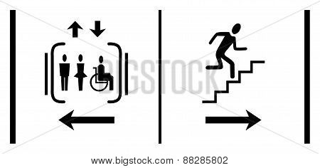 Signs stairs, elevator man woman and disabled. Arrows