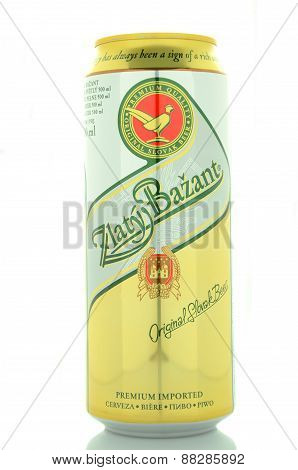 Zlaty Bazant light beer isolated on white background