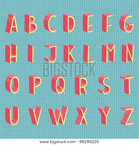 Hand drawn vector flat modern full alphabet.