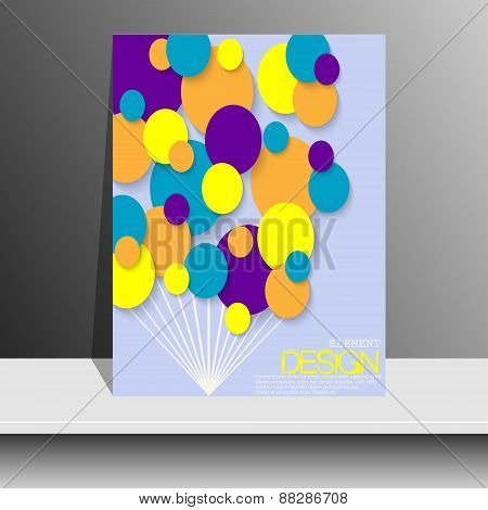 Magazine Cover With Pieces Of Colored Paper. For Leaflets, Books, Brochures, Flyers, Posters, Bookle