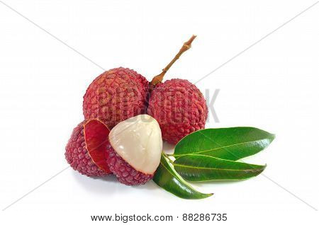 Lychee. Fresh lychees isolated on white background