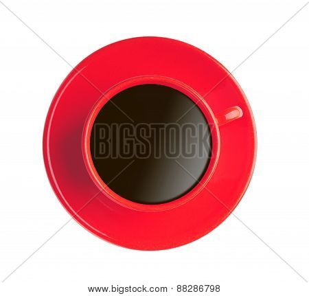 Red Cup With Black Coffee Isolated On White