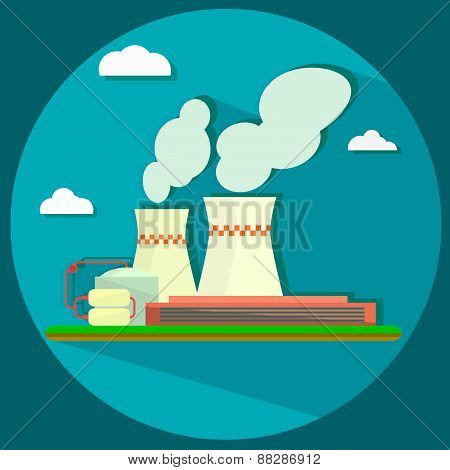 Industrial factory building - vector illustration in flat design style for presentation, infographic