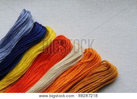 Natural Fabric With Embroidery Floss