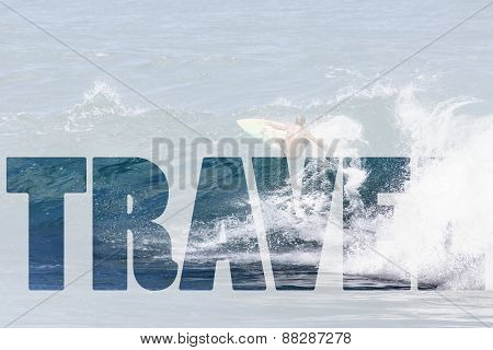 Word Travel Over Extreme Surfer Riding Giant Ocean Wave In Hawaii