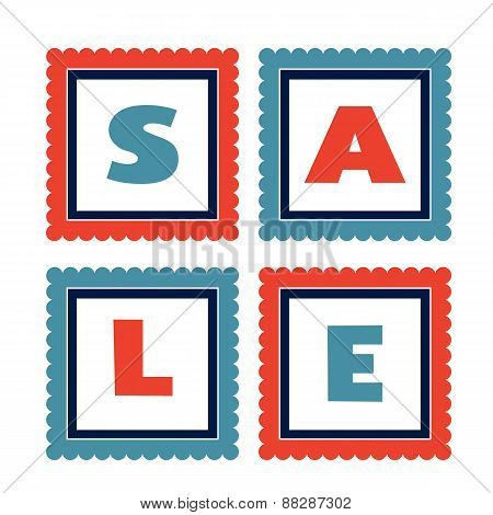 Set of colorful sale tags
