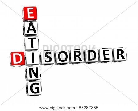 3D Crossword Eating Disorder Over White Background.