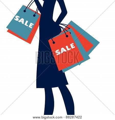 Silhouette of a woman shopping at sales