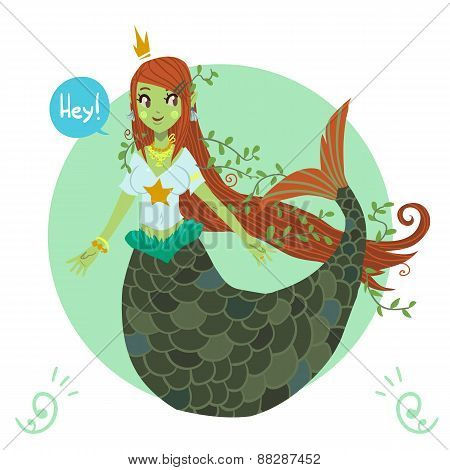 Vector cartoon flat cute Mermaid princess.