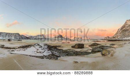 sunrise over Haukland Beach