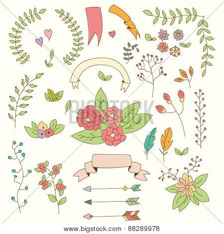 Hand Drawn Vintage Flowers And Floral Elements For Weddings, Valentines Day, Birthdays And Holidays