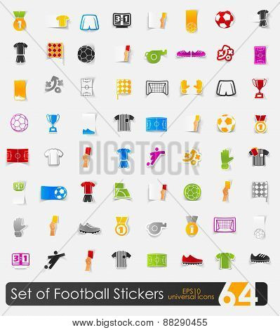 Set of football stickers