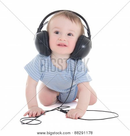 Side View Of Baby Boy Toddler With Earphones Isolated On White