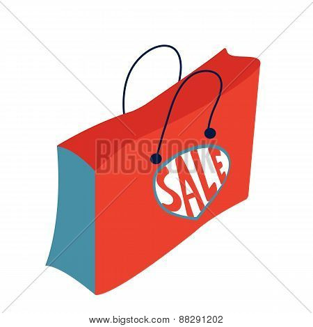 Concept card for sales. Shopping bag with Sale word