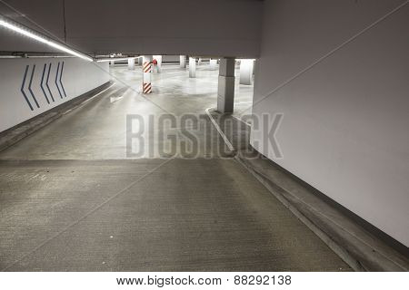 Empty Driveway In Concrete Parking Garage