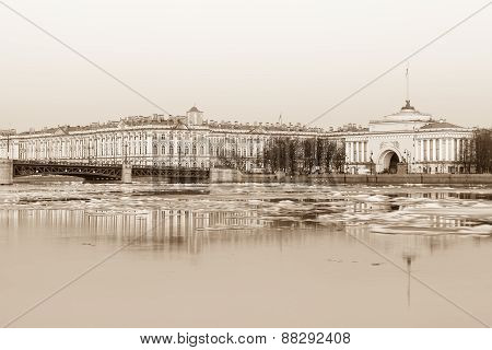 Hermitage, Palace Bridge And Admiralty Building In St. Petersburg (sepia Processing)