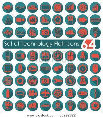 Set of technology flat icons