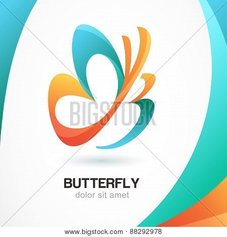 Abstract Beautiful Tropical Butterfly Symbol On Colorful Background. Logo Design Template. Concept F