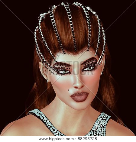 Brunette with diamonds and black onyx tiara with matching dress.