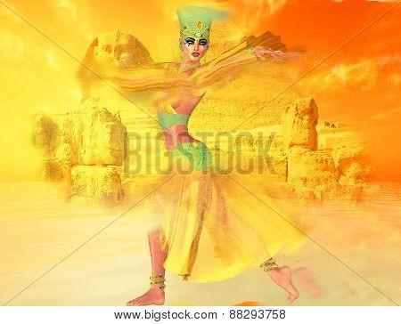 Egyptian woman in desert sandstorm with sphinx and ancient ruins