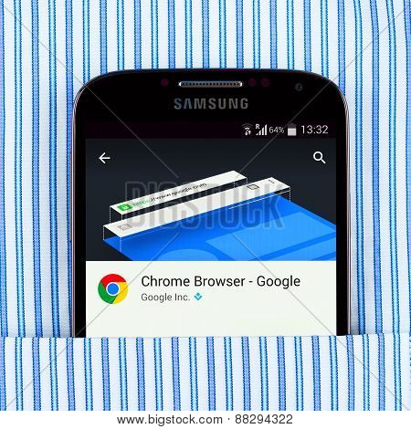 Chrome browser on the Samsung galaxy display